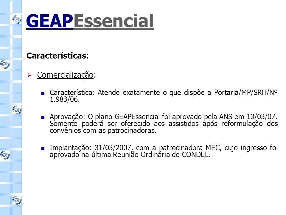 GEAPEssencial Características: Comercialização: