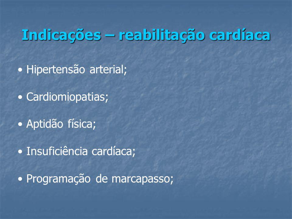 Indicações – reabilitação cardíaca