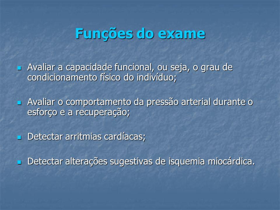 Funções do exame Avaliar a capacidade funcional, ou seja, o grau de condicionamento físico do indivíduo;