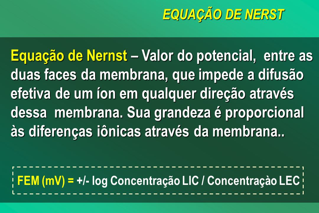 EQUAÇÃO DE NERST