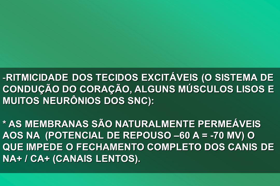 RITMICIDADE DOS TECIDOS EXCITÁVEIS (O SISTEMA DE CONDUÇÃO DO CORAÇÃO, ALGUNS MÚSCULOS LISOS E MUITOS NEURÔNIOS DOS SNC): * AS MEMBRANAS SÃO NATURALMENTE PERMEÁVEIS AOS NA (POTENCIAL DE REPOUSO –60 A = -70 MV) O QUE IMPEDE O FECHAMENTO COMPLETO DOS CANIS DE NA+ / CA+ (CANAIS LENTOS).