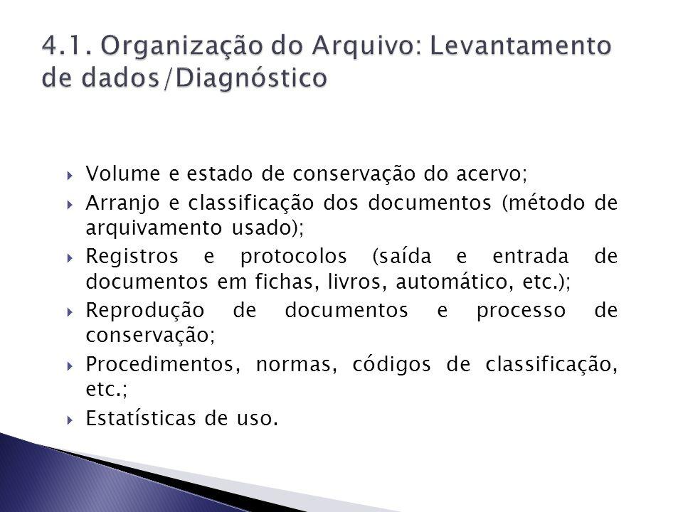 4.1. Organização do Arquivo: Levantamento de dados/Diagnóstico