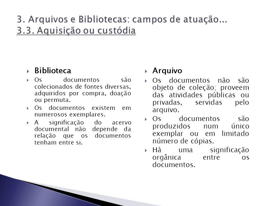 3. Arquivos e Bibliotecas: campos de atuação. 3. 3
