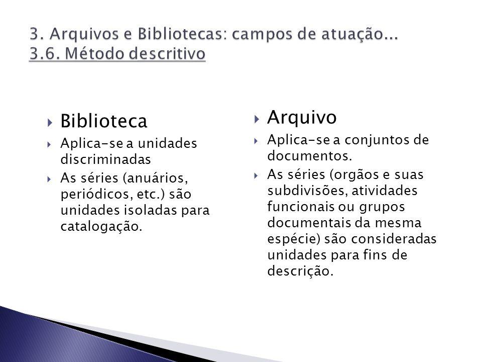 3. Arquivos e Bibliotecas: campos de atuação... 3.6. Método descritivo