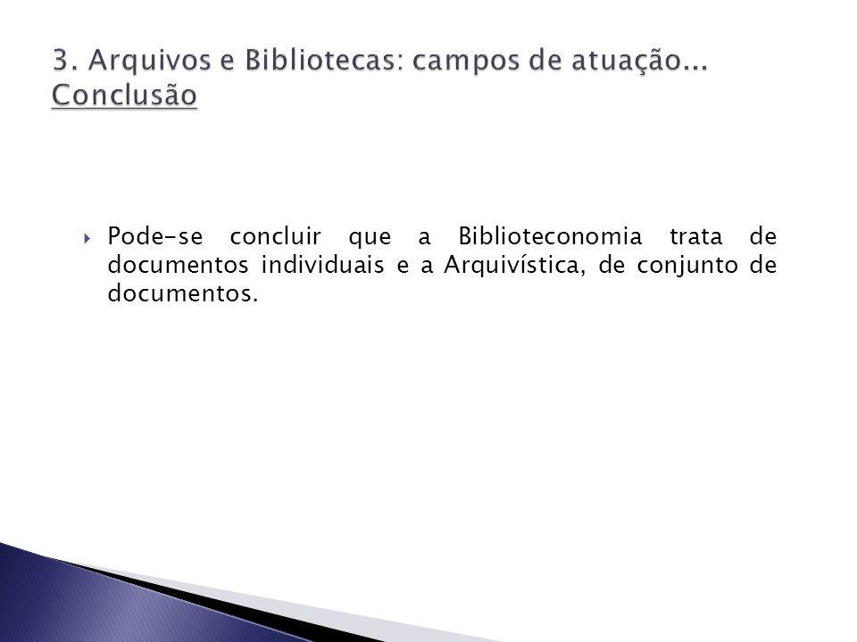 3. Arquivos e Bibliotecas: campos de atuação... Conclusão