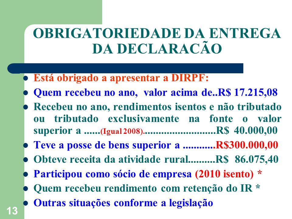 OBRIGATORIEDADE DA ENTREGA DA DECLARACÃO