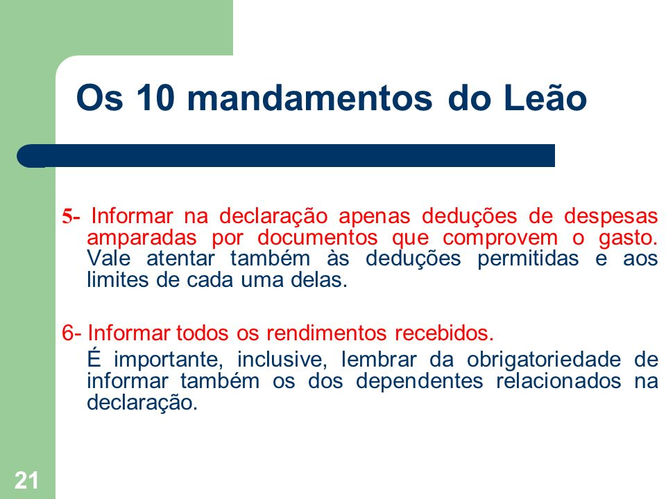 Os 10 mandamentos do Leão