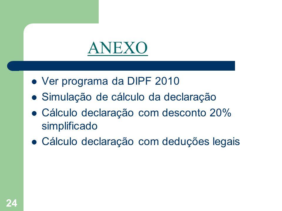 ANEXO Ver programa da DIPF 2010 Simulação de cálculo da declaração