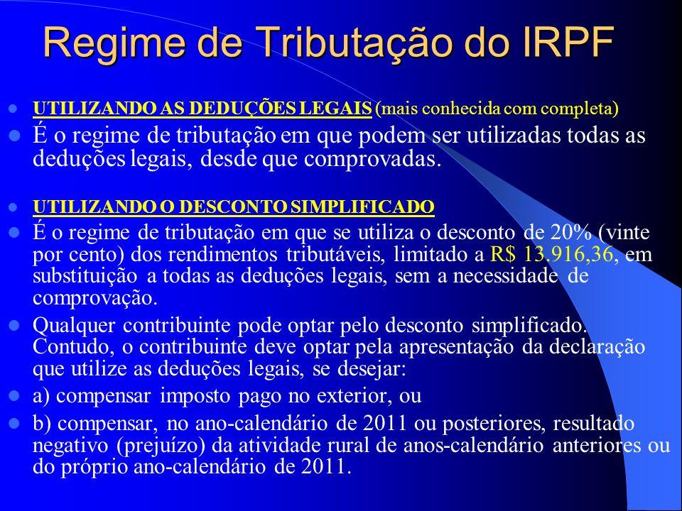 Regime de Tributação do IRPF