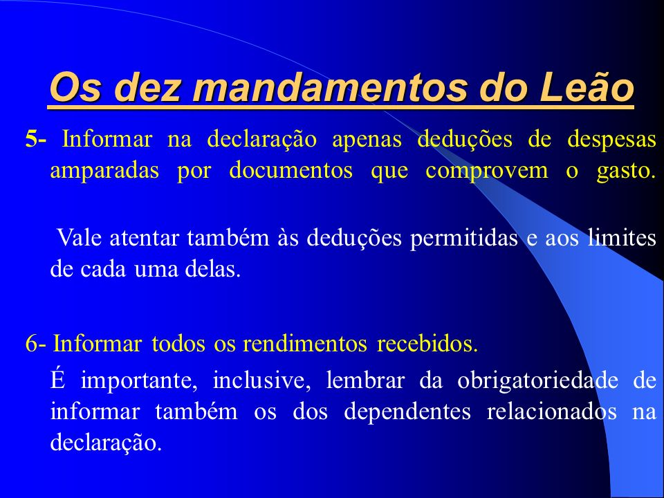 Os dez mandamentos do Leão