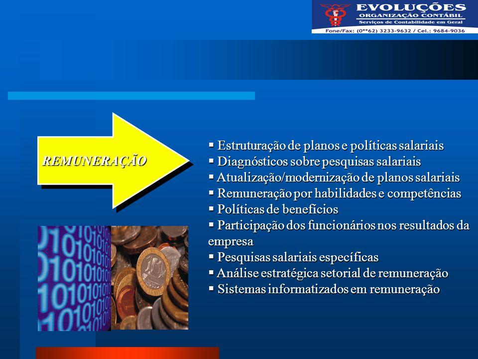 REMUNERAÇÃO Estruturação de planos e políticas salariais. Diagnósticos sobre pesquisas salariais. Atualização/modernização de planos salariais.