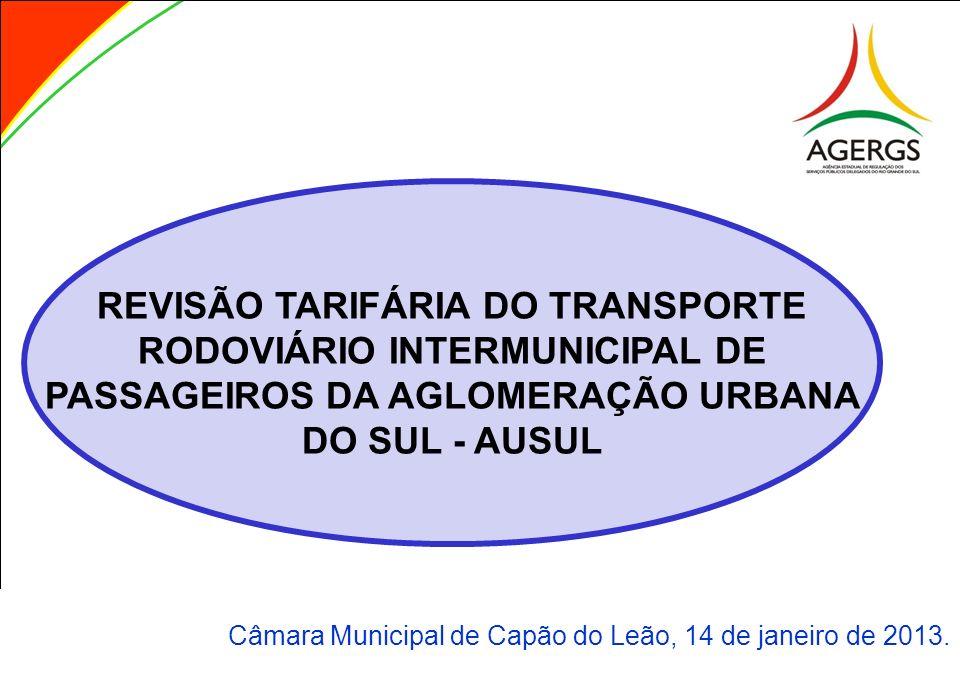 REVISÃO TARIFÁRIA DO TRANSPORTE RODOVIÁRIO INTERMUNICIPAL DE PASSAGEIROS DA AGLOMERAÇÃO URBANA DO SUL - AUSUL