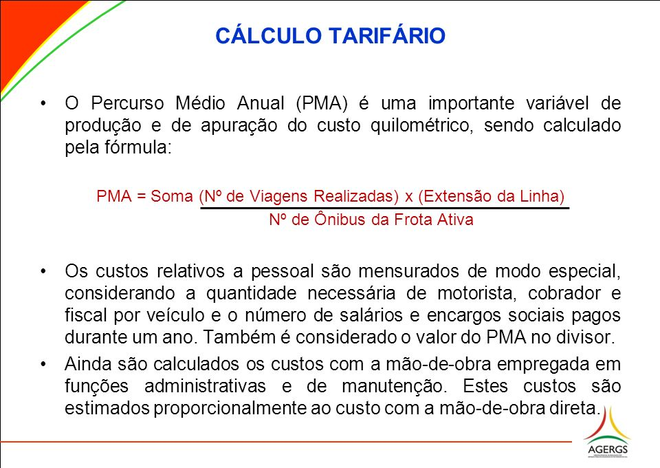 CÁLCULO TARIFÁRIO