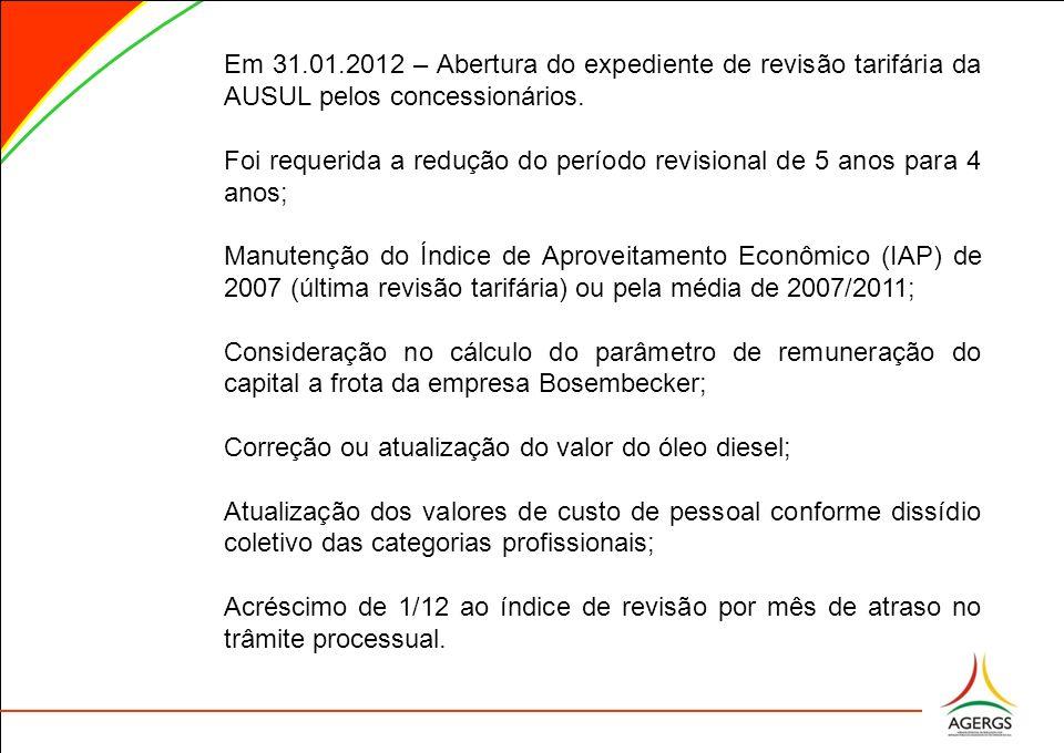 Em 31.01.2012 – Abertura do expediente de revisão tarifária da AUSUL pelos concessionários.