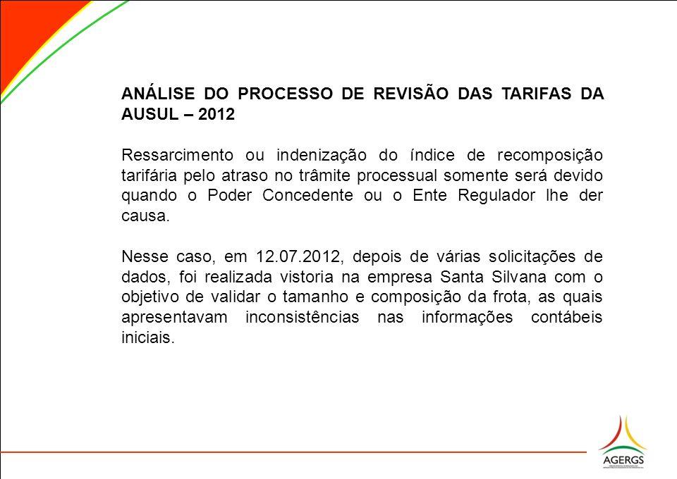 ANÁLISE DO PROCESSO DE REVISÃO DAS TARIFAS DA AUSUL – 2012