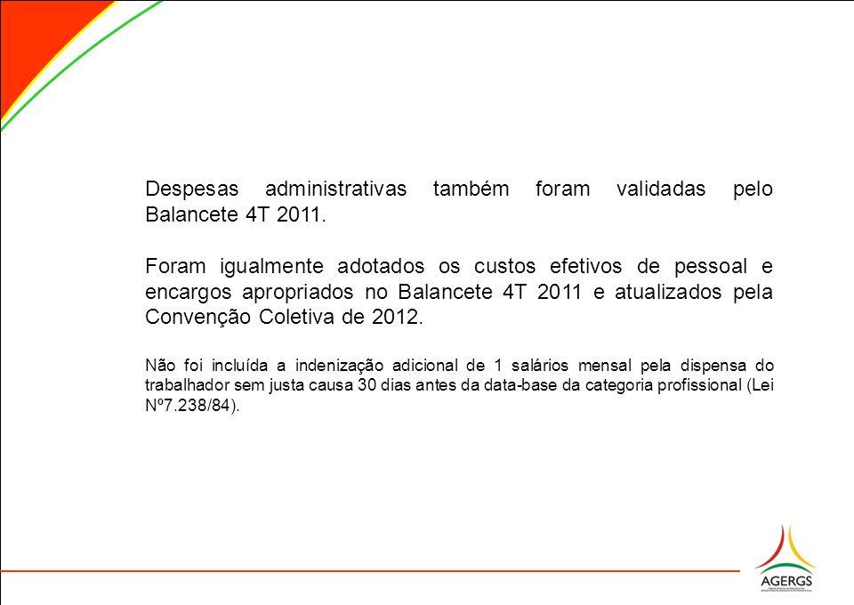 Despesas administrativas também foram validadas pelo Balancete 4T 2011.