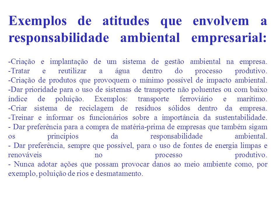Exemplos de atitudes que envolvem a responsabilidade ambiental empresarial: -Criação e implantação de um sistema de gestão ambiental na empresa.