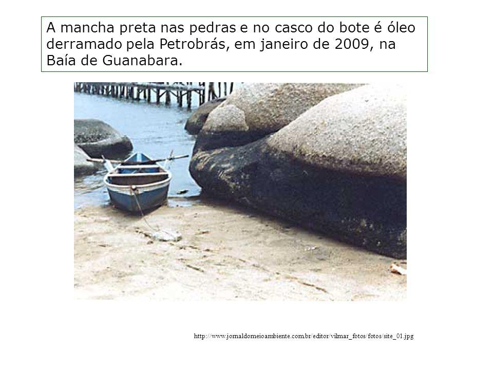 A mancha preta nas pedras e no casco do bote é óleo derramado pela Petrobrás, em janeiro de 2009, na Baía de Guanabara.