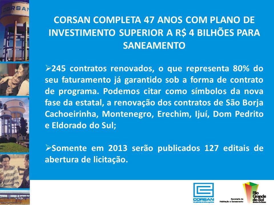 CORSAN COMPLETA 47 ANOS COM PLANO DE INVESTIMENTO SUPERIOR A R$ 4 BILHÕES PARA SANEAMENTO