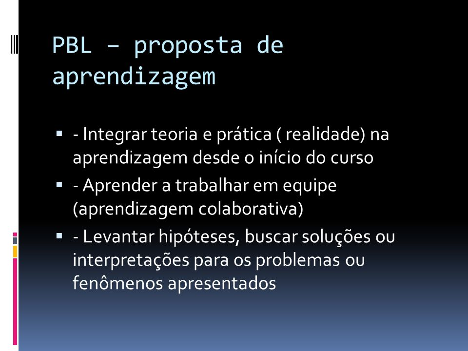 PBL – proposta de aprendizagem