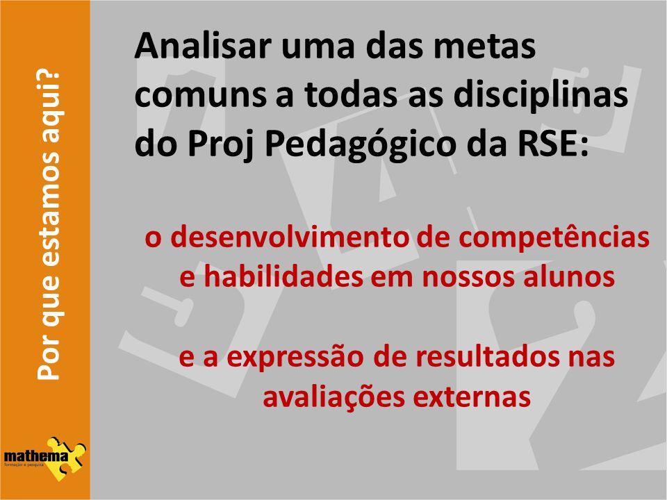 Analisar uma das metas comuns a todas as disciplinas do Proj Pedagógico da RSE:
