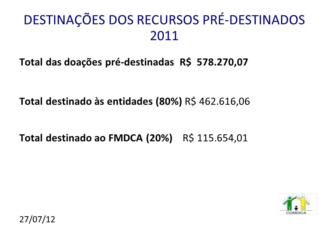 DESTINAÇÕES DOS RECURSOS PRÉ-DESTINADOS 2011