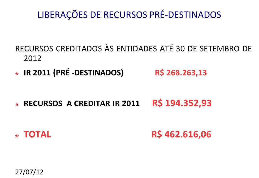 LIBERAÇÕES DE RECURSOS PRÉ-DESTINADOS