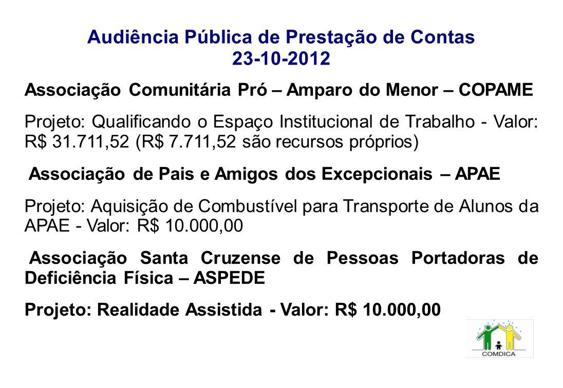 Audiência Pública de Prestação de Contas 23-10-2012