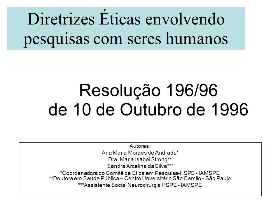 Resolução 196/96 de 10 de Outubro de 1996