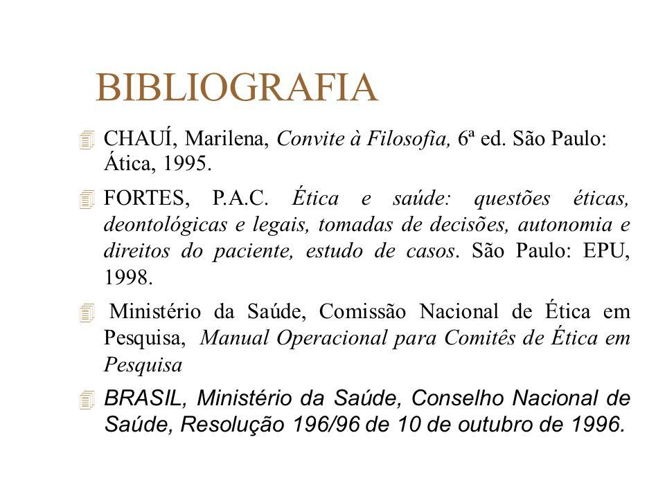 BIBLIOGRAFIA CHAUÍ, Marilena, Convite à Filosofia, 6ª ed. São Paulo: Ática, 1995.