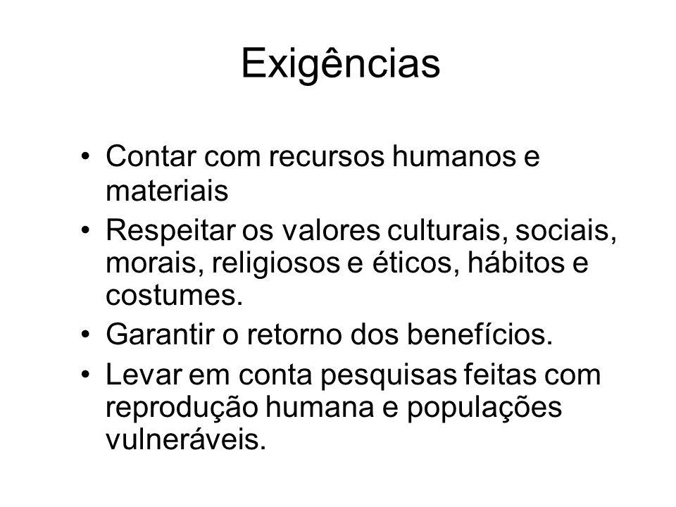 Exigências Contar com recursos humanos e materiais