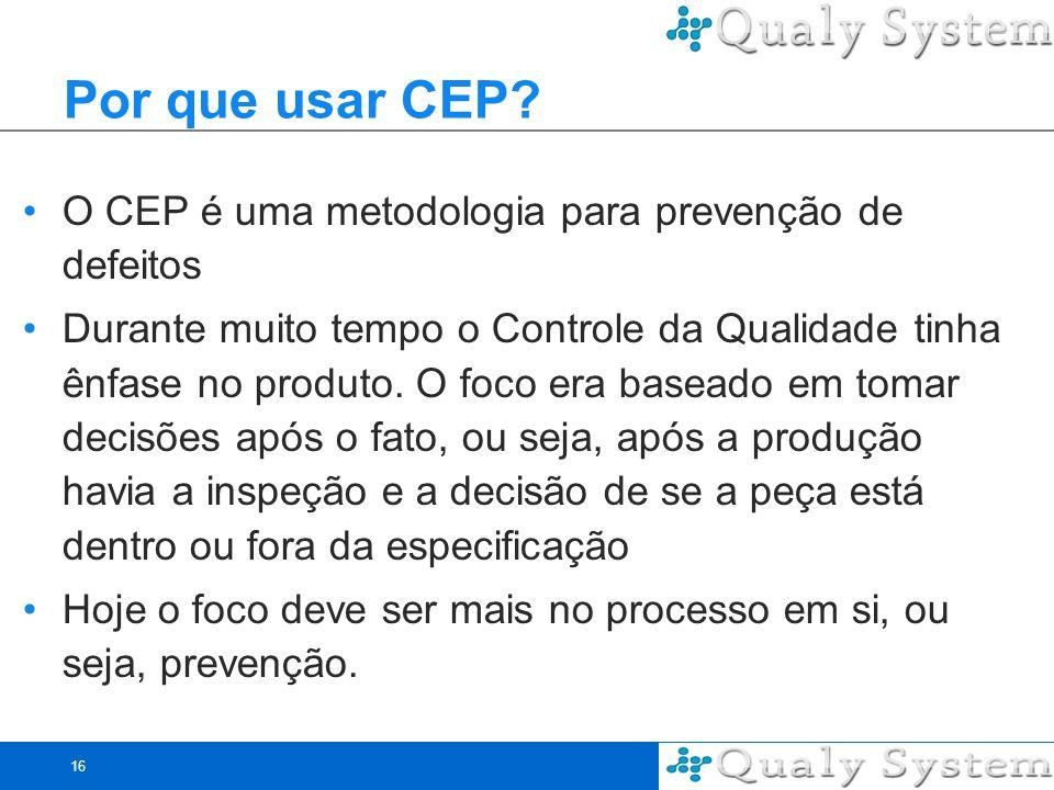 Por que usar CEP O CEP é uma metodologia para prevenção de defeitos