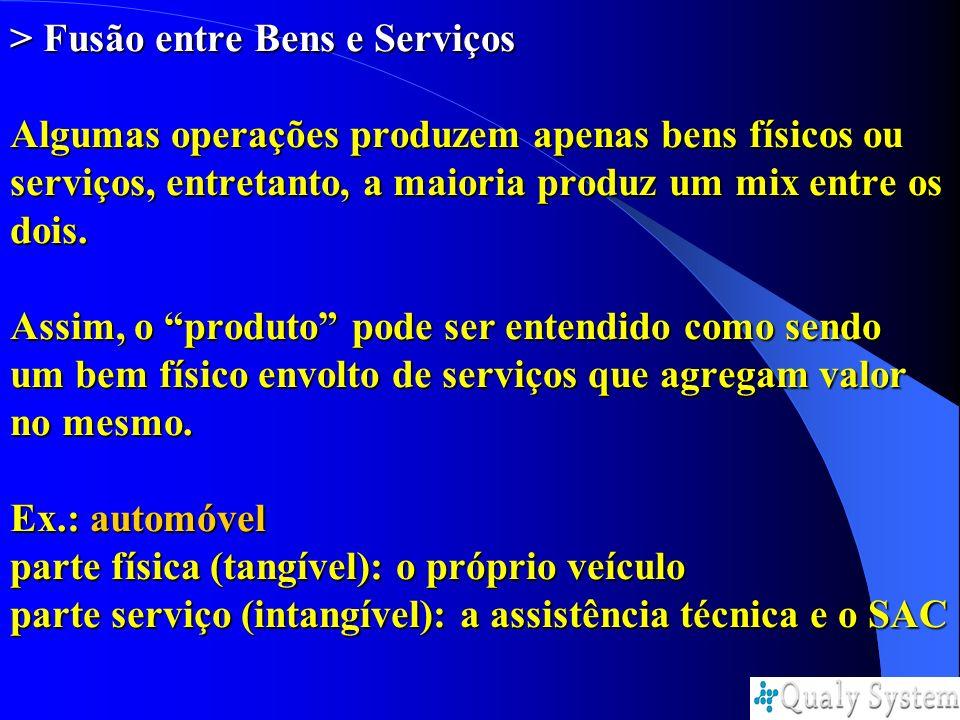 > Fusão entre Bens e Serviços Algumas operações produzem apenas bens físicos ou serviços, entretanto, a maioria produz um mix entre os dois.