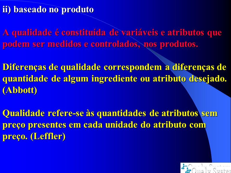 ii) baseado no produto A qualidade é constituída de variáveis e atributos que podem ser medidos e controlados, nos produtos.