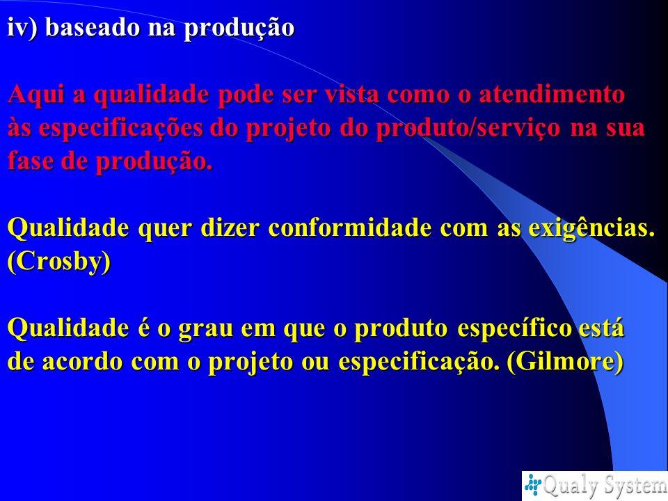 iv) baseado na produção Aqui a qualidade pode ser vista como o atendimento às especificações do projeto do produto/serviço na sua fase de produção.