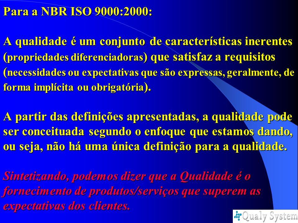 Para a NBR ISO 9000:2000: A qualidade é um conjunto de características inerentes (propriedades diferenciadoras) que satisfaz a requisitos (necessidades ou expectativas que são expressas, geralmente, de forma implícita ou obrigatória).