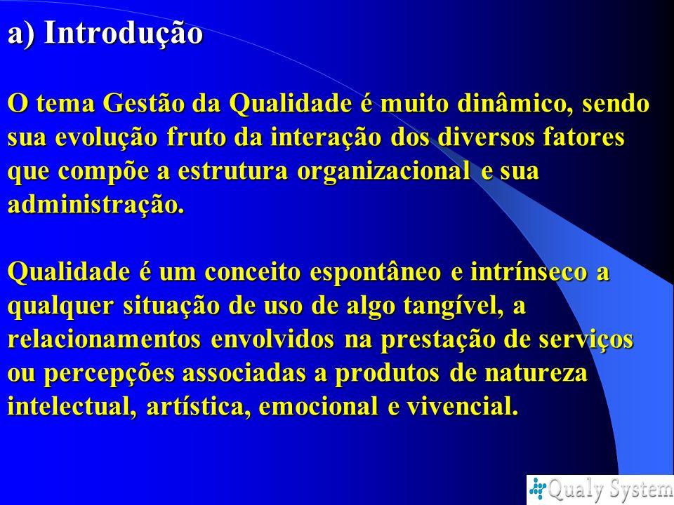 a) Introdução O tema Gestão da Qualidade é muito dinâmico, sendo sua evolução fruto da interação dos diversos fatores que compõe a estrutura organizacional e sua administração.