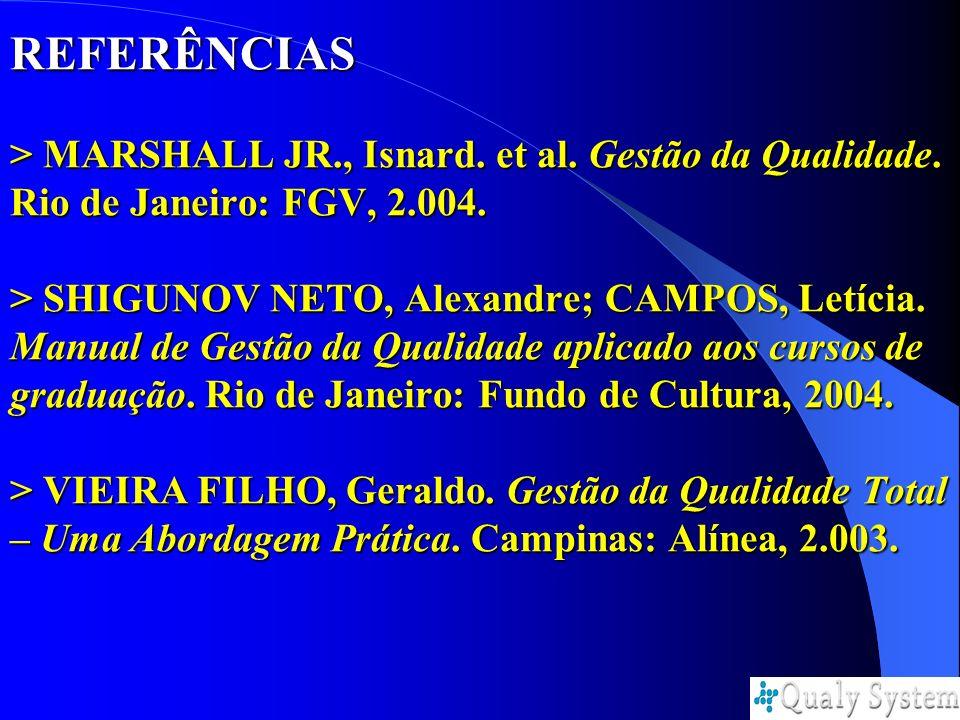 REFERÊNCIAS > MARSHALL JR. , Isnard. et al. Gestão da Qualidade