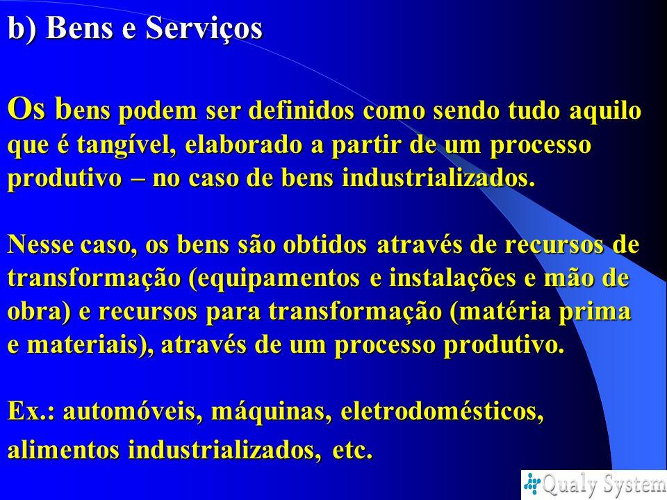 b) Bens e Serviços Os bens podem ser definidos como sendo tudo aquilo que é tangível, elaborado a partir de um processo produtivo – no caso de bens industrializados.