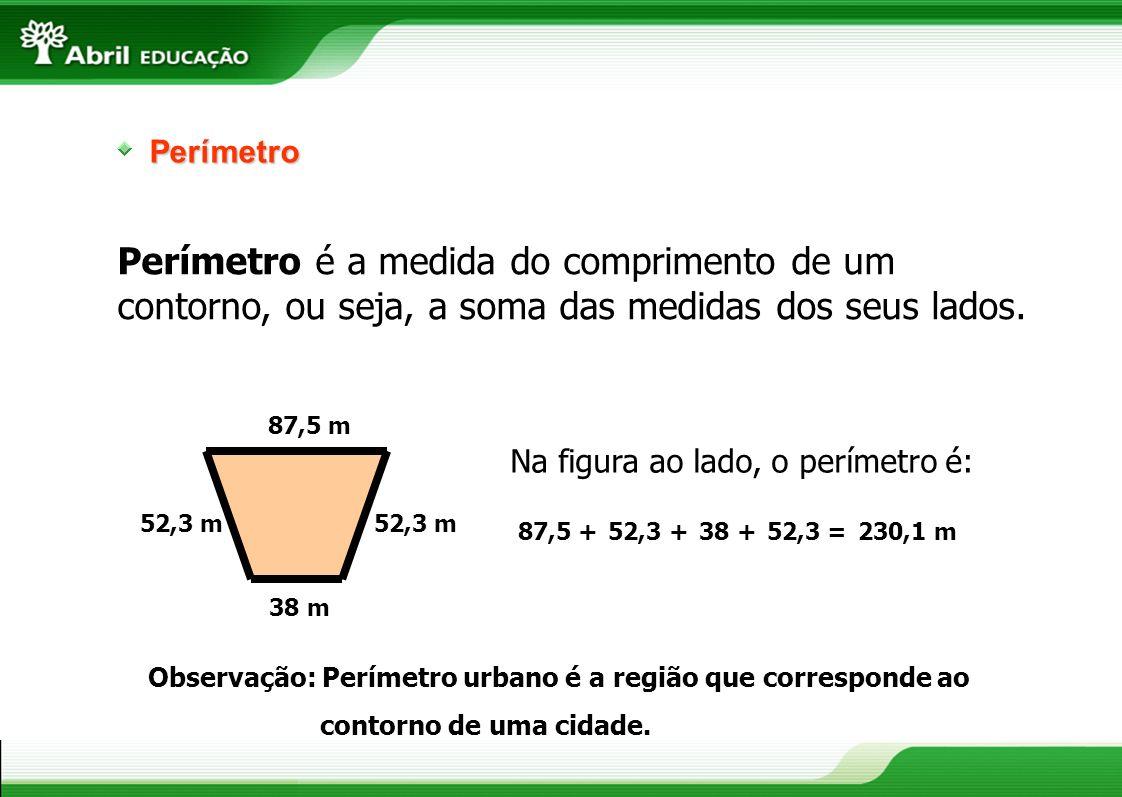Perímetro Perímetro é a medida do comprimento de um contorno, ou seja, a soma das medidas dos seus lados.