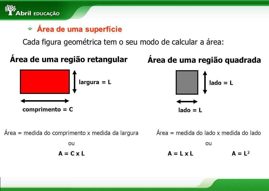 Cada figura geométrica tem o seu modo de calcular a área: