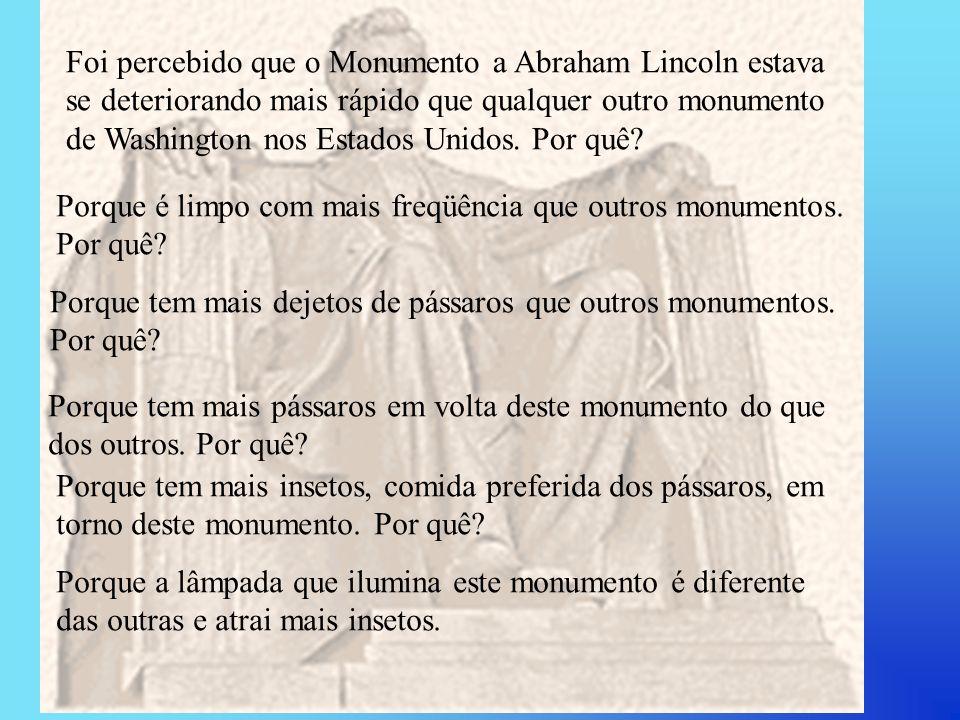 Foi percebido que o Monumento a Abraham Lincoln estava
