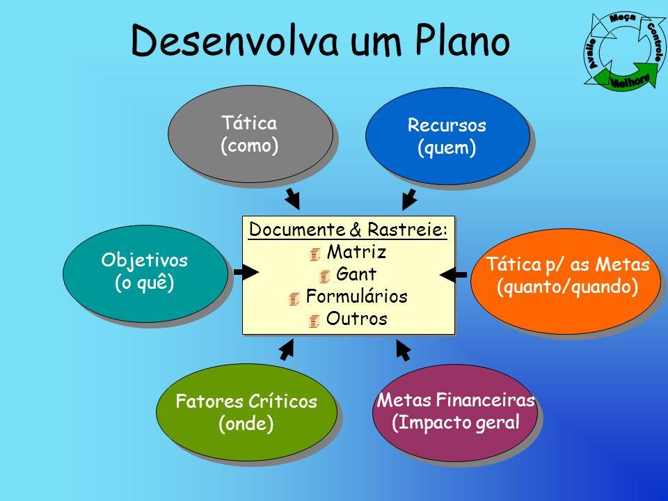 Desenvolva um Plano Tática Recursos (como) (quem)