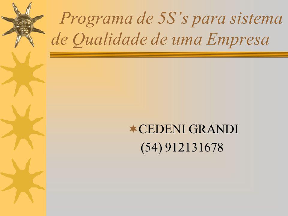 Programa de 5S's para sistema de Qualidade de uma Empresa