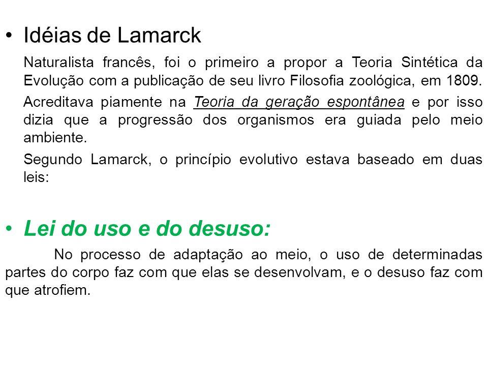 Idéias de Lamarck Lei do uso e do desuso: