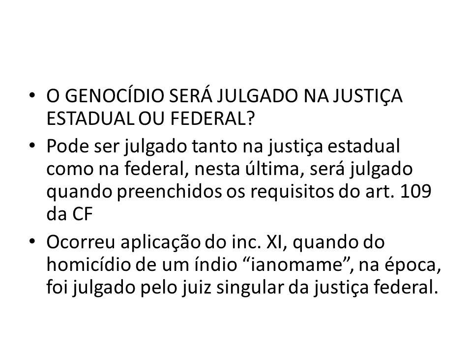 O GENOCÍDIO SERÁ JULGADO NA JUSTIÇA ESTADUAL OU FEDERAL
