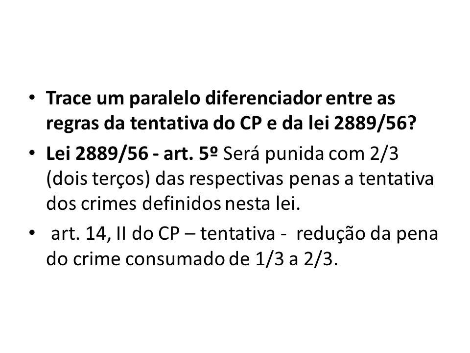 Trace um paralelo diferenciador entre as regras da tentativa do CP e da lei 2889/56
