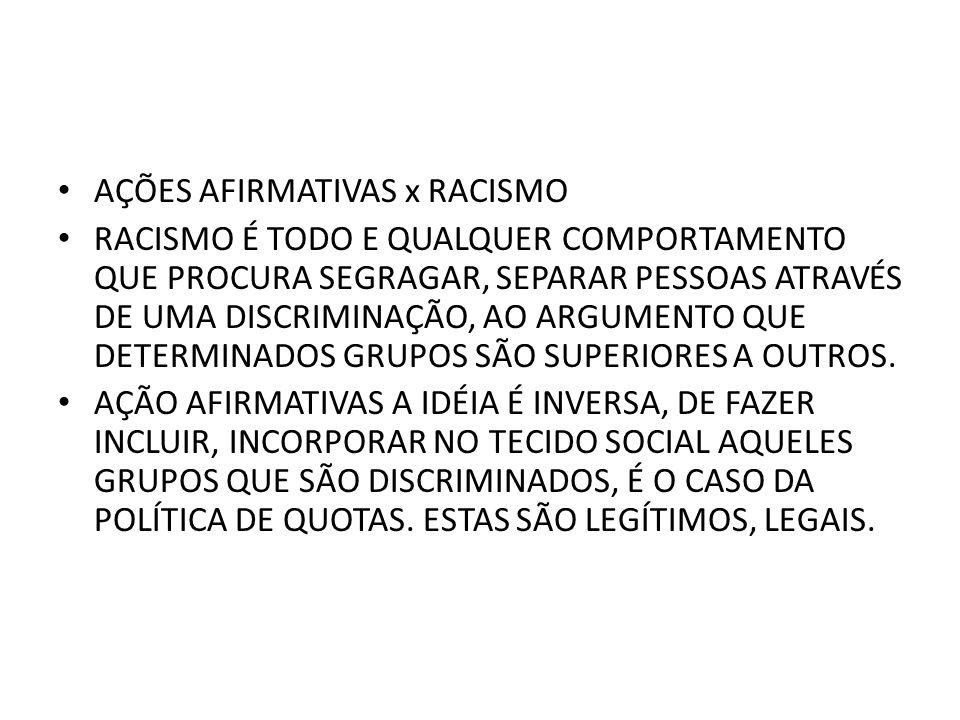 AÇÕES AFIRMATIVAS x RACISMO
