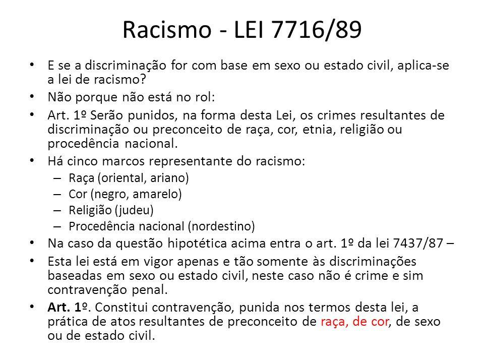Racismo - LEI 7716/89 E se a discriminação for com base em sexo ou estado civil, aplica-se a lei de racismo