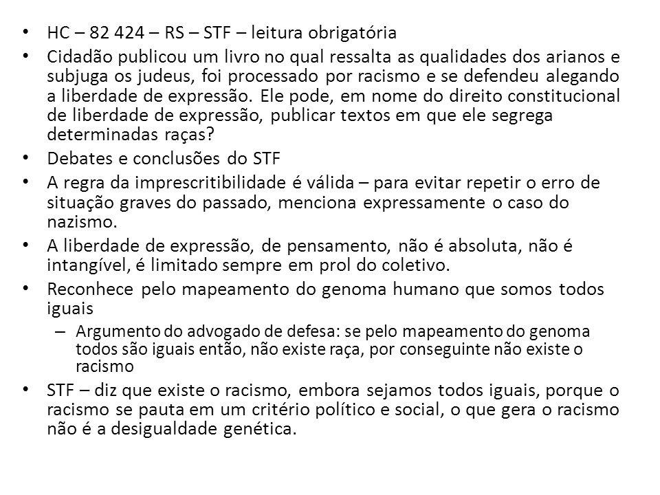 HC – 82 424 – RS – STF – leitura obrigatória
